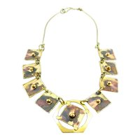 BIG 1960s 70s Handmade Patinated Bronze Abstract Brutalist Modernist NECKLACE
