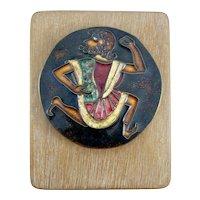 Gwendolyn Orsinger Anderson ORSINI 1977 RUNNING MAN Handmade Copper Enamel on Wood Wall Mounted ARTWORK