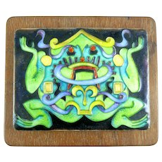 Gwendolyn Orsinger Anderson ORSINI 1970s FANCY FROG Handmade Copper Enamel on Wood Mounted ARTWORK