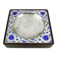BIG 1960s 70s OTTAVIANI Italy Handmade Hammered Sterling Silver & Enamel on Wood Base Coin Trinket TRAY