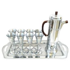 RARE 1930s Art Deco Krome-Kraft by Farber Brothers NYC Cocktail Shaker + 8 Cocktail Stems + Large Tray COCKTAIL SET