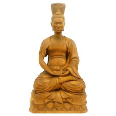 BIG 1940s 50s Hand Carved Wood Highly Detailed Southeast Asian Seated BUDDHA Statue Sculpture