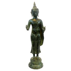 HUGE 1960s 70s Cast Bronze Patinated Green Southeast Asian Thailand Standing BUDDHA Statue Sculpture