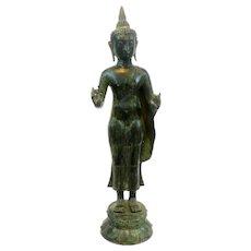 HUGE 1960s 70s Cast Bronze Patinated Green Southeast Asian Thailand Standing BUDDHA Statue Sculpture