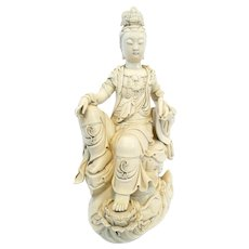 EXQUISITE 1960s 70s SIGNED Chinese Dehua Blanc de Chine GUANYIN Kwanyin Statue SCULPTURE with Original Silk Covered Box