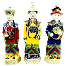 """SET of 3 Vintage 1940s 50s Chinese hand-painted ceramic clay Imperial Courtiers Officials Statues - just under 15"""" tall!"""