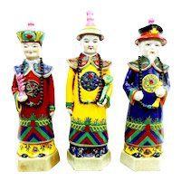 "SET of 3 Vintage 1950s PRoC Chinese hand-painted ceramic clay Courtiers Officials figurines Statues - just under 15"" tall!"