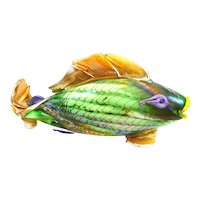 HUGE 1980s SIGNED Hand Blown Multi Colored Art Glass Whimsical FISH Design Table Top SCULPTURE