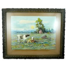 ANTIQUE c. 1910 Original Watercolor on Paper Pastoral Scene Cows at Pasture SIGNED H. L. Richter in Original Frame