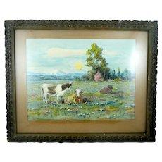 ANTIQUE c. 1910 Original Watercolor on Paper Pastoral Scene Cows at Pasture SIGNED H. L. Richter in Original Frame