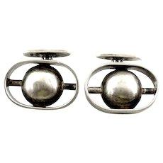 BIG 1970 SIGNED MM English London Handmade Sterling Silver Dimensional Modernist CUFFLINKS