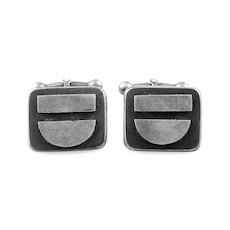 SIGNED 1940s 50s Handmade Sterling Silver Geometric Mid Century Studio Modernist CUFFLINKS