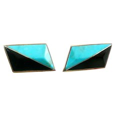 BIG Vintage 1970s 80s Signed Jack Woolsey Handmade Sterling Silver with Turquoise & Onyx Inlay Geometric Modernist Pierced EARRINGS