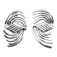 HUGE Vintage 1980s 90s Signed MOULAGE MODELE Handmade Sterling Silver Modernist Design Clip EARRINGS