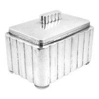 RARE Vintage 1930s SIGNED Poland Art Deco Handmade 800 Silver Geometric Design Jewelry BOX