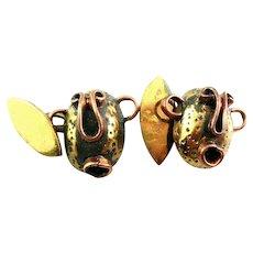 Vintage 1950s CASA MAYA Handmade Mixed Metals Copper & Brass Cubist Modernist FACE Design CUFFLINKS