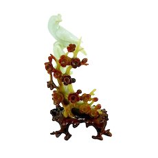 EXQUISITE Vintage 1940s 50s Chinese Export Multicolor Carved Jade Bird and Flowers on Wood Base Statue SCULPTURE