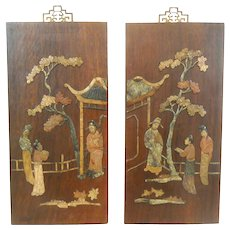 PAIR of Superb Vintage 1940s 50s Chinese Mahogany & Inlaid Multicolor Jade Figures in Garden Wallhanging ARTWORK
