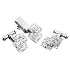 RARE Vintage 1930s Signed ART DECO Hand Crafted Sterling Silver & Marcasites Geometric Design CUFFLINKS & TIE BAR in Original Box