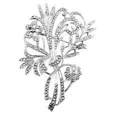 BIG Vintage 1920s 30s Hand Crafted ART DECO Rhodium-plated Sterling Silver & Marcasites FLORAL Brooch PIN