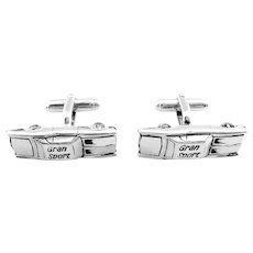 BIG Vintage 1960s 70s ANSON Hand Crafted Sterling Silver GRAN SPORT Car Automobile Design CUFFLINKS