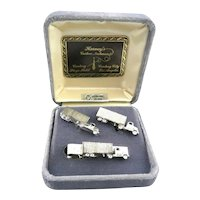 BIG 1950s 60s Fenwick & Sailors Hand Crafted Sterling Silver BIG RIG Design Cufflinks & Tie Bar SET in the Original Box
