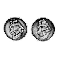 BIG Vintage 1940s 50s Hand Crafted Sterling Silver Finely Detailed SAILING SHIP OF WAR Design CUFFLINKS