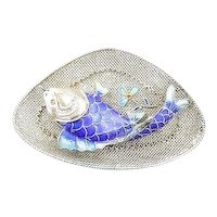 Exquisite Vintage 1930s 40s Chinese Export Silver Filigree & Enamel FISH and FLOWERS Design Brooch PIN