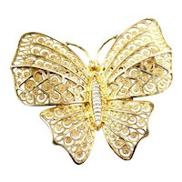 LOVELY Vintage 1950s SIGNED NW Germany Sterling Silver Filigree Vermeil BUTTERFLY Brooch PIN