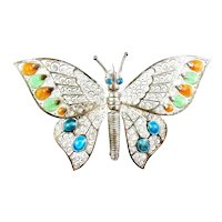 CHARMING Vintage 1950s 60s Signed NW Germany Handmade Sterling Silver Filigree & Enamel BUTTERFLY Design Brooch PIN