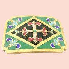 GORGEOUS Vintage 1950s 60s Handmade European Gilt Brass and Cloisonne Enamel MALTESE CROSS Design BELT BUCKLE