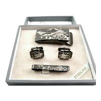 RARE 1950s Japan Japanese Handmade Engraved Sterling Silver Cufflinks Tie Bar & Belt Buckle SET in the Original Box