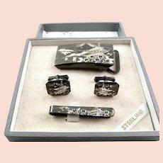 RARE 1950s Japan Japanese Handmade Engraved Sterling Silver Cufflinks Tie Bar & Belt Buckle SET in the Original Box
