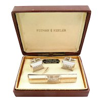 RARE Vintage 1940s 50s Signed PITMAN & KEELER Art Deco Geometric Handmade Sterling Silver CUFFLINKS & TIE BAR in the Original Box