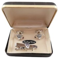 RARE Vintage 1950s 60s Hand Crafted Sterling Silver & Enamel ELKS Fraternal Cufflinks & Tie Bar SET in the Original Box