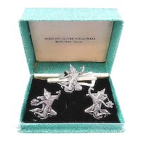 BIG Vintage 1950s 60s Handmade Sterling Silver THAI DANCER Siam Design Cufflinks & Tie Bar SET in the Original Box