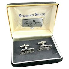 BIG Vintage 1950s ANSON Hand Crafted Sterling Silver San Francisco Cable Car Design CUFFLINKS in the Original Box