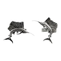 HUGE Vintage 1950s 60s Hand Crafted Sterling Silver Marlin SAILFISH Fishing Design CUFFLINKS