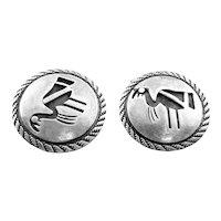 BIG Vintage 1950s 60s Handmade Sterling Silver Native Tribal BIRD Design Old Pawn CUFFLINKS