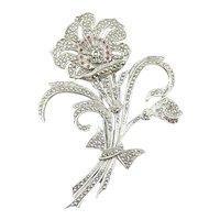 BIG Vintage 1920s 30s Kimler & Daniels NY Art Deco Hand Crafted Sterling Silver Marcasites & Garnets Floral FLOWER Design Brooch PIN