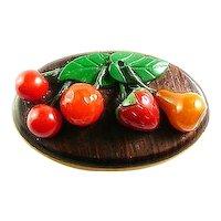 BIG Vintage 1930s Handmade BAKELITE Multi Color FRUIT Cherries Orange Strawberry Pear Brooch PIN