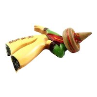 BIG Vintage 1930s Hand Carved & Painted Bakelite & Wood MEXICAN CABALLERO Taking a Bow Brooch PIN
