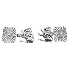 Vintage 1920s 30s Art Deco Hand Crafted Sterling Silver LIONS and Geometric Design CUFFLINKS