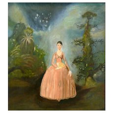 ORIGINAL Vintage Signed FLORINE 1958 Romantic Naive Oil on Canvas in Wood Frame PAINTING