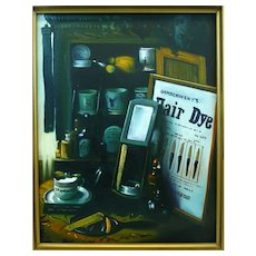 ORIGINAL Vintage 1950s 60s Realistic BARBERSHOP Still Life Oil on Canvas Framed PAINTING