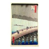 ORIGINAL Vintage 1930s 40s SIGNED Japanese Block Print on Paper RAIN on BRIDGE