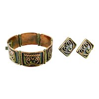 Vintage 1960s 70s MAYA Mexico Handmade Mixed Metals Copper & Brass Modernist Faces Masks Design Bracelet & Earrings SET
