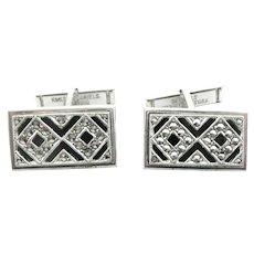 SUPERB Vintage 1940s 50s Kimler & Daniels Art Deco Hand Crafted Sterling Silver Marcasites & Black Enamel Geometric CUFFLINKS