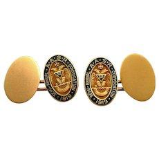 RARE Antique circa 1919 Signed Masonic 32 Degree Shriner AASR Convocation Gold Filled & Enamel CUFFLINKS
