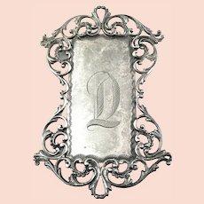 BIG Antique circa 1905-10 Edwardian Beaux Arts Hand Engraved INITIAL D Ornate Design Sterling Silver BELT BUCKLE
